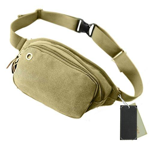 FakeFace Outdoor Fashion Unisex Leichte 3 Taschen Multicolor Reisen Leinwand Hüfttaschen olivgrün