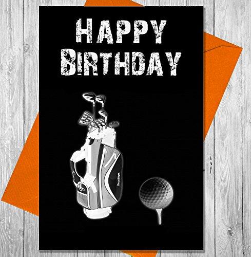 Geburtstagskarte Golf Club und Ball-Einzigartiges Kreidetafel Effekt Grußkarte -