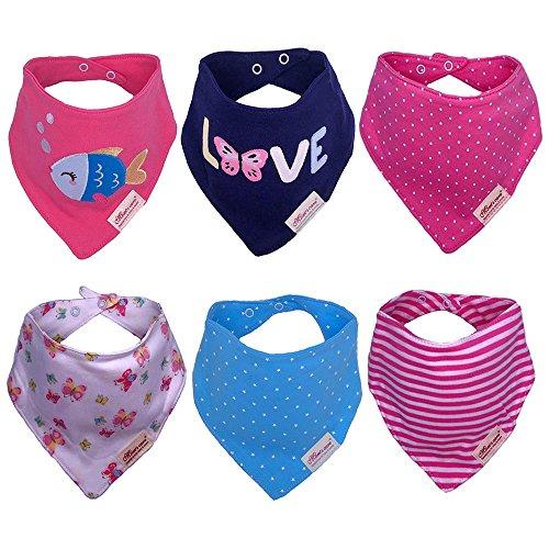 Baby Dreieckstuch Lätzchen 6er 100% Baumwolle Saugfähig Weich Halstücher Spucktuch Lätzchen mit Druckknopf für Baby Jungen und Mädchen Kleinkinder (Mädchen)