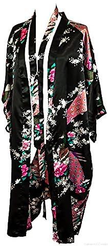 Bademantel Robe Wäsche -Nachtabnutzung Kleidbrautjunfer Junggesellinnenabschied (Schwarz