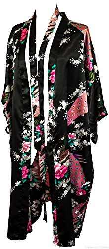CCCollections Bademantel Robe Wäsche -Nachtabnutzung Kleidbrautjunfer Junggesellinnenabschied Schwarz (Black)