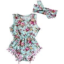 Covermason Bebé Niñas Floral Impresión Mono Bodies y Headwear(2 PC)
