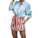 UFACE Damen Gestreifte Krawatten Hohe Taille Shorts Hosen Gestreifte Hohe Taille Bandage Einfache Bowtie Elastische Beiläufige Kurze HosenRot,XL/(40)