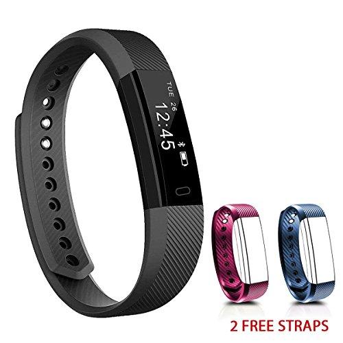 NAKOSITE SB2433 Montre connectée sport, Bracelet connecté, Podomètre, tracker d'activité, Calcul calories brûlées, moniteur de sommeil, Distance, Montre de Sport. Se connecte UNIQUEMENT aux iPhones et...