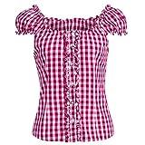 Almsach Damen Trachten-Mode Trachtenbluse Carmen traditionell geschnitten Gr.32-50 in verschiedenen Farben, Größe:34, Farbe:Pink