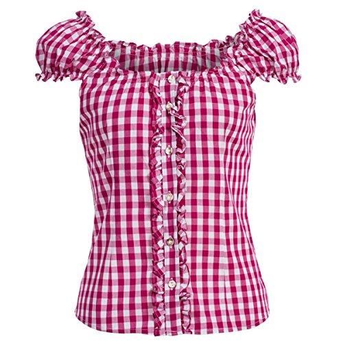Almsach Damen Trachten-Mode Trachtenbluse Carmen traditionell geschnitten Gr.32-50, Größe:38, Farbe:Pink