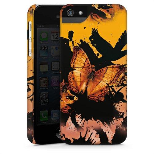 Apple iPhone 5s Housse Étui Protection Coque Papillon Grunge Art CasStandup blanc