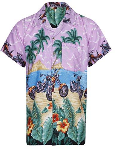 LOUD MENS ALOHA HAWAIIAN SHIRT HAWAII HOLIDAY BEACH STAG BIKE SUMMER MOTORBIKE