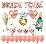 Globos oro rosa decorados para despedida de soltera, 1 pcs BRIDE TO BE letras, 14 piezas de globos de látex, 5 globos de aluminio de diferentes formas, forma de estrella de 2M guirnalda colgante