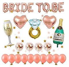 Idea Regalo - Cojoy Palloncini di decorazione addio al nubilato in oro rosa, 1pcs BRIDE TO BE Palloncini, 14 palloncini in lattice, 5 Palloncini foil di forma diversa,Ghirlanda appesa a forma di stella da 2M