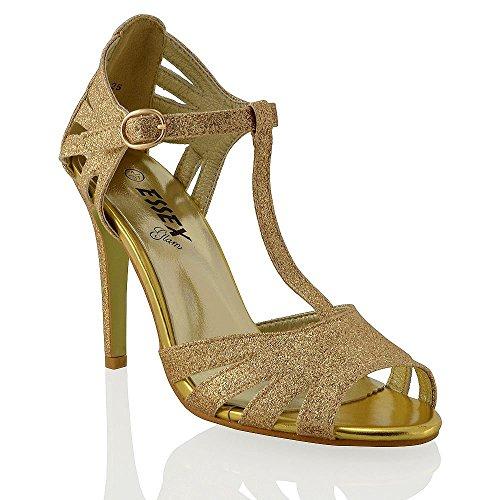 ESSEX GLAM Damen Riemchensandaletten Glitzer Mary Jane Sandaletten Metallic Stilettos Gold Glitzerstaub