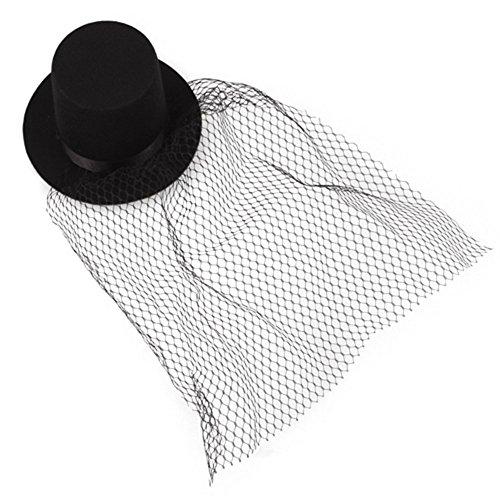 HEALUMS Schwarz Mini Top Hat Schleier Clips Party Cosplay Kostüm Frauen Schleier Mesh Headwear Hut Bowler Hats