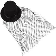 SODIAL(R) Sombrero negro de Copa Mini Velo Clips Fiesta Lolita Cosplay Goth Disfraces