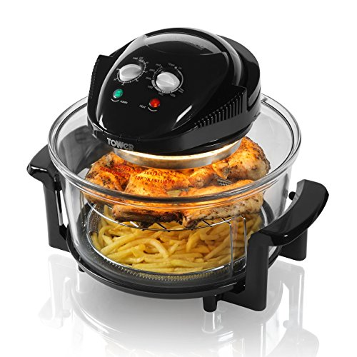 An image of the Tower T14001 Halogen Airwave Low Fat Air Fryer, 1300 W, 17 Litre Capacity with Extender Ring, Black