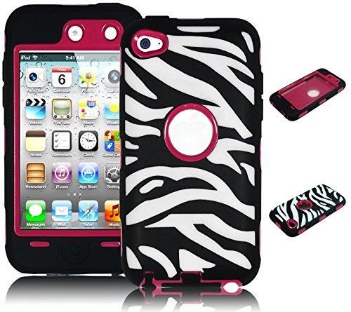 iPod Touch 4Fall, Bastex Heavy Duty Hybrid Schutzhülle-Hot Pink Soft Silikon Cover mit Schwarz und Weiß Zebra Design Hard Shell Case für Apple iPod Touch 4, 4. Generation Zebra Ipod Fall