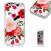 For iTouch 5/6 Case [with Free Screen Protector],Funyye Fashion lovely Lightweight Ultra Slim Anti Scratch Transparent Soft Gel Silicone TPU Bumper Protective Case Cover Shell for iTouch 5/6 - Red Flower