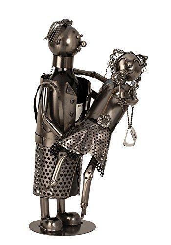 Unbekannt Moderner Wein Flaschenhalter Flschenständer Liebespaar aus Metall in Silber Höhe 36,5 cm -