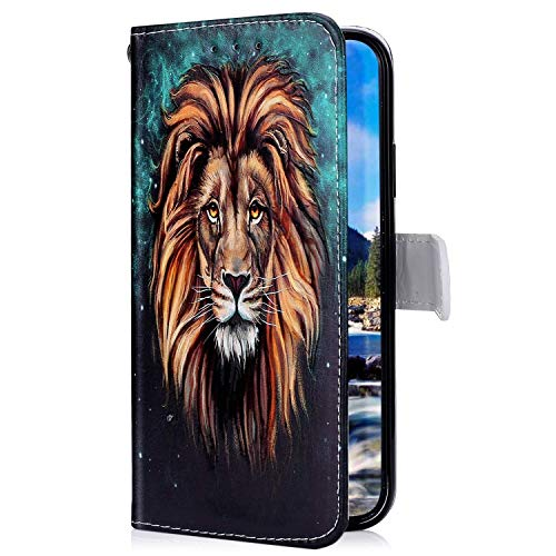 Uposao Kompatibel mit Samsung Galaxy A60 Hülle mit Bunt Muster Motiv Brieftasche Handyhülle Leder Schutzhülle Klappbar Wallet Tasche Flip Case Ständer Ledertasche Magnet,Löwe