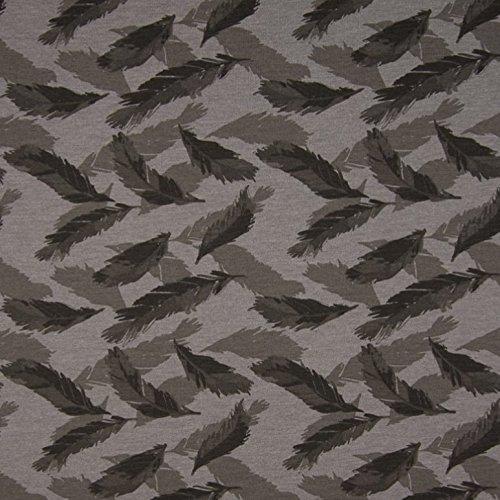 0,5m Jersey Federn melange print grau 5% Elasthan 95% Baumwolle Meterware 140cm breit (Zick-zack-federn)