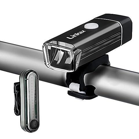 Linkax Lumière pour vélo LED Phare Lampe Torche Avant Vélo Puissante USB Rechargeable Sets d'éclairage avant et arrière pour Vélo