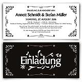 Einladungen zur Hochzeit (30 Stück) Schwarz Weiß - Black & White Einladungskarten