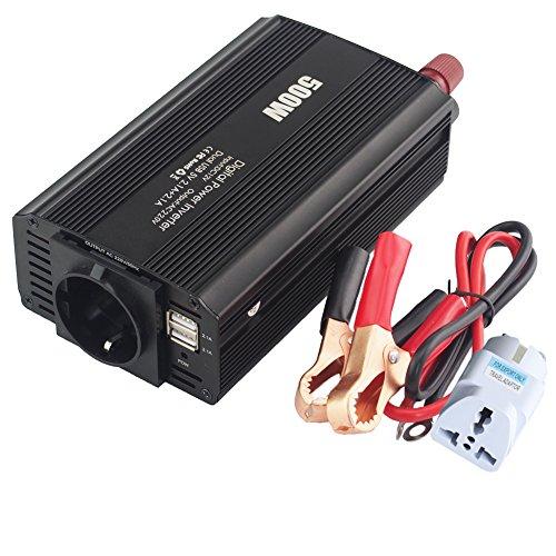 500W Wechselrichter DC 12V zu Ac 220V 230V 240V Auto-Konverter mit 4.2A Dual USB und 1 Ac-Ausgänge für Smartphones, Tablet, Laptop, Vernebler