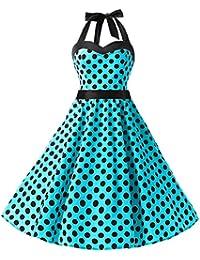Dresstells Donne 1950 Audrey Hepbun Vintage con Allacciatura al Collo di  Polka Dots Cocktail Vestito 4ecc23b4bab