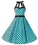 Dresstells Neckholder Rockabilly 1950er Polka Dots Punkte Vintage Retro Cocktailkleid Petticoat Faltenrock Blue Black Dot M