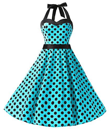 Dresstells Neckholder Rockabilly 1950er Polka Dots Punkte Vintage Retro Cocktailkleid Petticoat Faltenrock Blue Black Dot ()