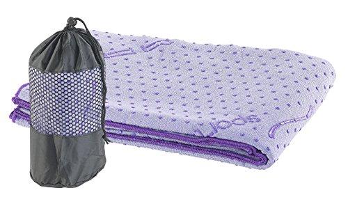 PEARL sports Fitnessmatte: 2in1-Mikrofaser-Yoga-Handtuch & Auflage, saugfähig, rutschfest, lila (Gymnastikmatte)
