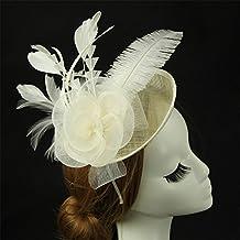 ADMTS Europe élégante coiffe de plumes d'autruche chapeau de lin à la main coiffe de lin voile de mariée coiffure de mariée ( Color : Blanc )