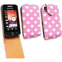 Emartbuy ® Samsung S5230 Tocco Lite Premium-PU-Leder Flip Case / Cover / Tasche Polka Dots Pink / Weiß und LCD Displayschutz
