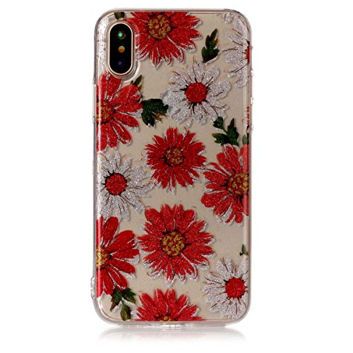 iPhone X Hülle ,Fodlon® Ultra Slim Fit TPU Gel Skin BlinkenPulver Schutzhülle / Case / Cover -Feder Gänseblümchen