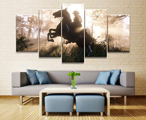 MIYCOLOR 5 Piezas de póster de Lienzo Juegos de Video Red Dead Redemption 2 Arthur Morgan Gutch's Gang Western Game Pintura de Pared Decoración para el hogar, 20x35 20x45 20x55
