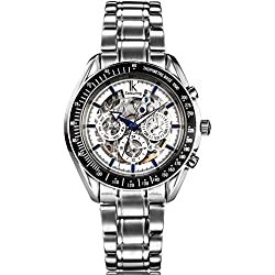 Alienwork IK Automatic Watch Self-winding Skeleton Mechanical Multi-function Water Resistant 5ATM Stainless Steel white silver 98005-02-R1