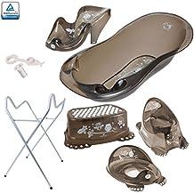 Tega – Bañera de lujo para bebé (86cm) con tapón de 5 piezas - Bañera, asiento de baño, soporte, cambiador