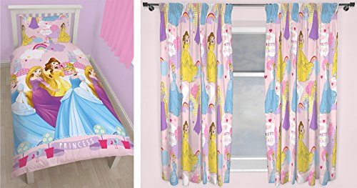Disney Princess Enchanting singolo set di biancheria da letto e tende abbinate 167,6 x 182,9 cm