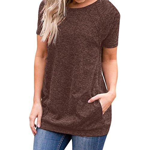 OSYARD Damen Sommer Casual Kurzarm Rundhals Taschen Solide Tuniken Lose T-Shirt Blusen Tops(EU 48/XL, Braun)