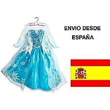 Frozen Anna Elsa Disfraz Vestido 4-8 Años + CORONA DE REGALO! Envío rápido desde Madrid!