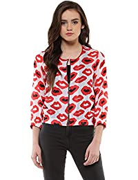 ec9e9f90031 Roving Mode Women's Lip Print Georgette Bomber Jacket