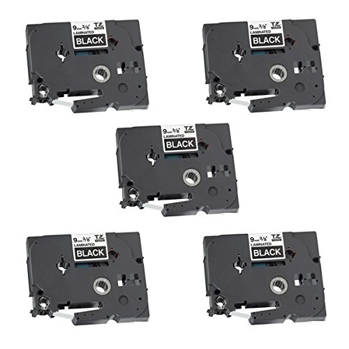 5 x Compatible TZ-325/TZe-325 White on Black Label Tapes (9mm x 8m) for Brother P-Touch Label Printing Machines