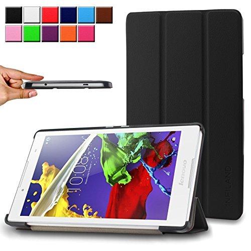 Infiland-Lenovo-TAB-2-A8-50-Funda-Case-Ultra-Delgada-Tri-Fold-Smart-Case-Cover-PU-Cuero-Smart-Cascara-con-Soporte-para-Lenovo-TAB-2-A8-50-203-cm-8-pulgadas-HD-IPS-TabletNegro