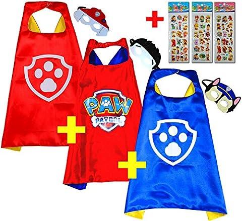 Paw Patrol Chase + Ryder + Marshall (Set 3 Stück) + 3 Aufkleber! Umhänge und Maske - Superhelden-Kostüme Kinder Cape and Mask - Superheroes Spielzeug Verkleiden & Kostüme für Jungen Mädchen Fasching oder Motto-Partys Helfer auf vier Pfoten - King Mungo - KMSC037