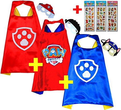 Paw Patrol Chase + Ryder + Marshall (Set 3 Stück) + 3 Aufkleber! Umhänge und Maske - Superhelden-Kostüme Kinder Cape and Mask - Superheroes Spielzeug Verkleiden & Kostüme für Jungen (Kostüm Paw Patrol Rocky)