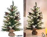 Britesta Baum: Deko-Weihnachtsbaum mit 30 LEDs, Pinienzapfen und Eibenbeeren, 60 cm (Künstlicher Weihnachtsbaum)