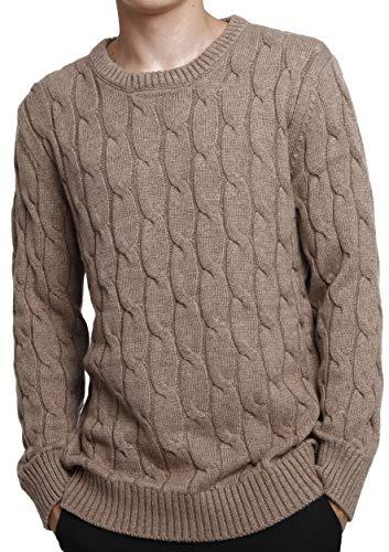 LinyXin Cashmere Herren Kaschmir Pullover Wolle Rundhals Warm Lose Langarm Freizeit Winter Pulli Sweater (XL, Kamel)
