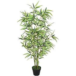 Decovego Bambus Kunstbaum Kunstpflanze Künstliche Pflanze mit Echtholz 120cm