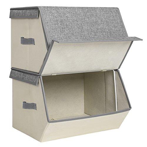 ltbox mit Deckel, Faltbare Kinder Spielzeugkiste, stapelbare Aufbewahrungsboxen mit Magnetverschluss und Einer Stütze aus Eisendraht, 38 x 25 x 35 cm, grau, RLB02G, Stoff, Beige ()