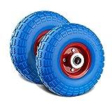 Forever Speed 2X Gummirad Vollgummi-Reifen Universal Schubkarren-Reifen PU auf Stahlfelge schwarz mit 100kg Traglast Ø255mm/3.50-4,Reifenbreite 74mm,Nabenlänge 75mm,Achsbohrung 25mm