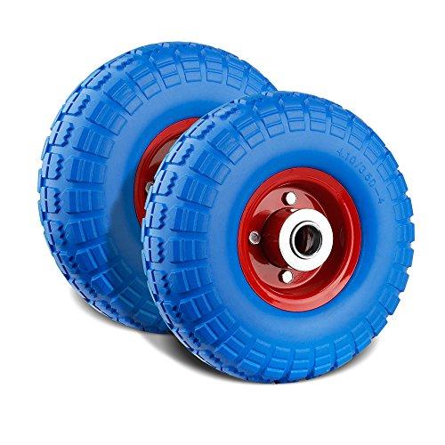 Preisvergleich Produktbild Forever Speed 2X Gummirad Vollgummi-Reifen Universal Schubkarren-Reifen PU auf Stahlfelge schwarz mit 100kg Traglast Ø255mm/3.50-4Reifenbreite 74mmNabenlänge 75mmAchsbohrung 25mm (blau+rot)